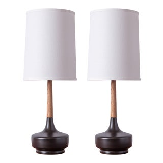 "Mid-Century Inspired Table Lamps ""Brooke - Cherry Grove"" - a Pair For Sale"