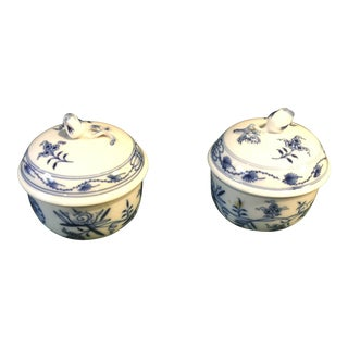 Early 20th Century Blue Old German Meissen Double Cross Sword Floral Sugar Jar/Cream Jar - a Pair For Sale