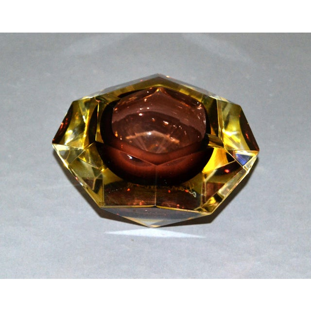 Signed Multi Faceted Murano Glass Ashtray Attributed to Flavio Poli, Italy For Sale - Image 10 of 12