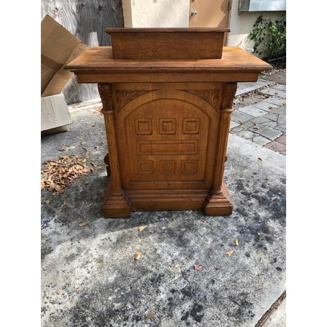 Antique Gothic Style Oak Church Lectern For Sale In West Palm - Image 6 of 6