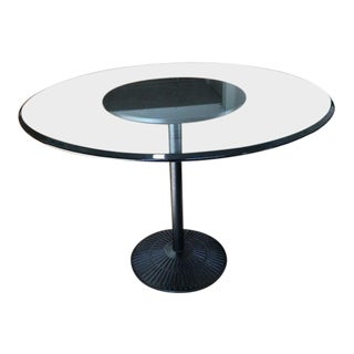 Round Glass + Metal Pedestal Table For Sale