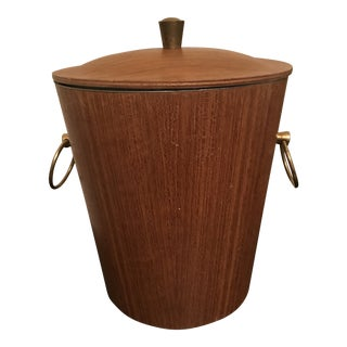 Vintage Mid Century Teak Ice Bucket With Brass Accent For Sale