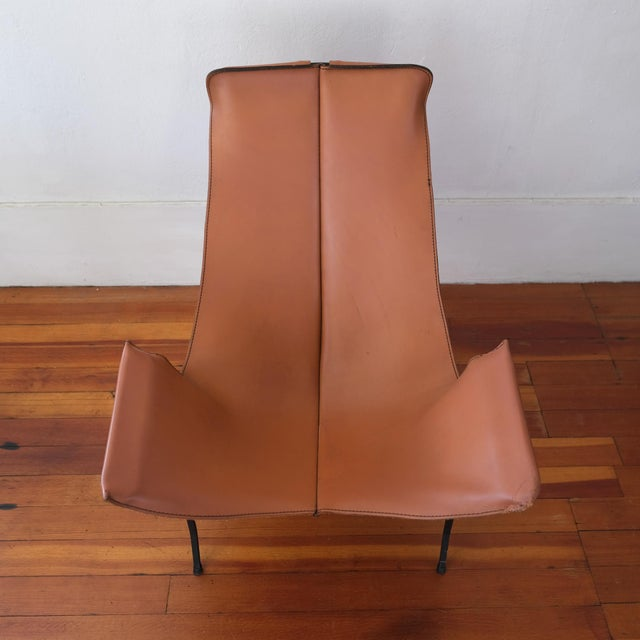 William Katavolos for Leathercrafter Leather and Iron Sling Chair For Sale In San Diego - Image 6 of 10