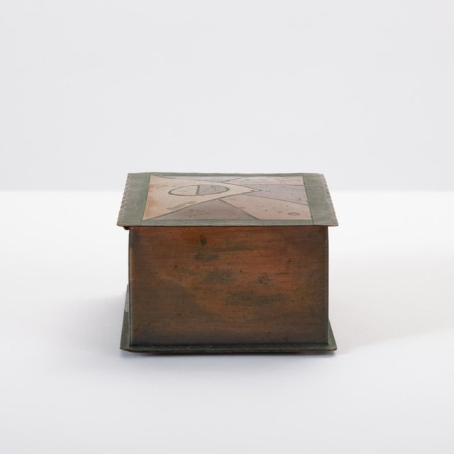 Copper Handmade Copper Box With Painted Geometric Pattern by Craftsman Studios For Sale - Image 7 of 11