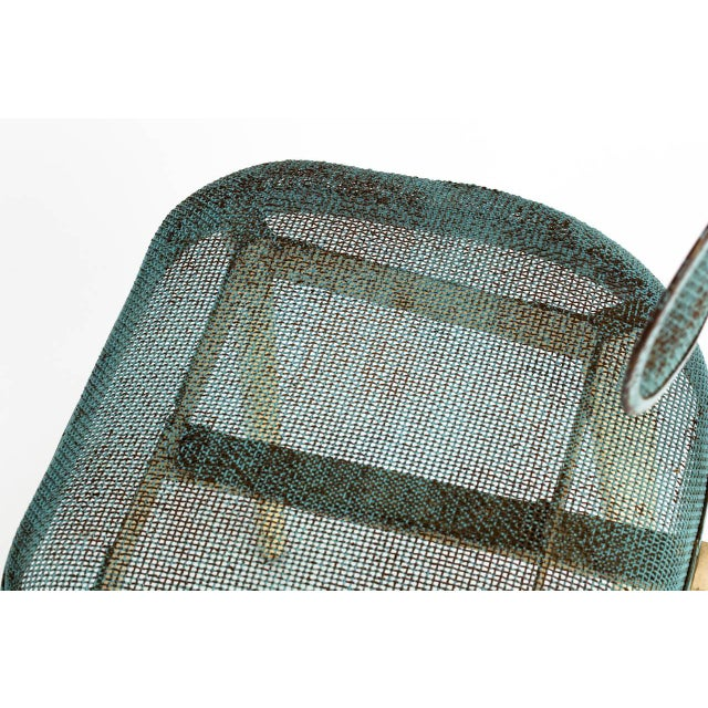 Blue Metal Mesh Chair in the Manner of Jean Prouve For Sale - Image 8 of 11