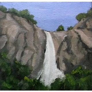 Miniature Yosemite Bridal Veil Falls Impressionist Plein Air Landscape Oil Painting on Canvas For Sale