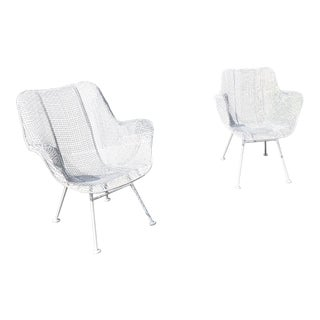 "1950s Woodard ""Sculptura"" White Patio Chairs - a Pair For Sale"