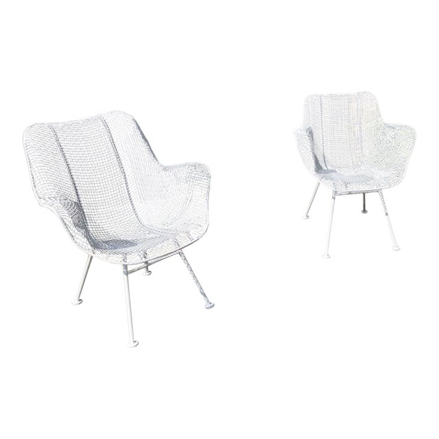 """1950s Woodard """"Sculptura"""" White Patio Chairs - a Pair For Sale"""