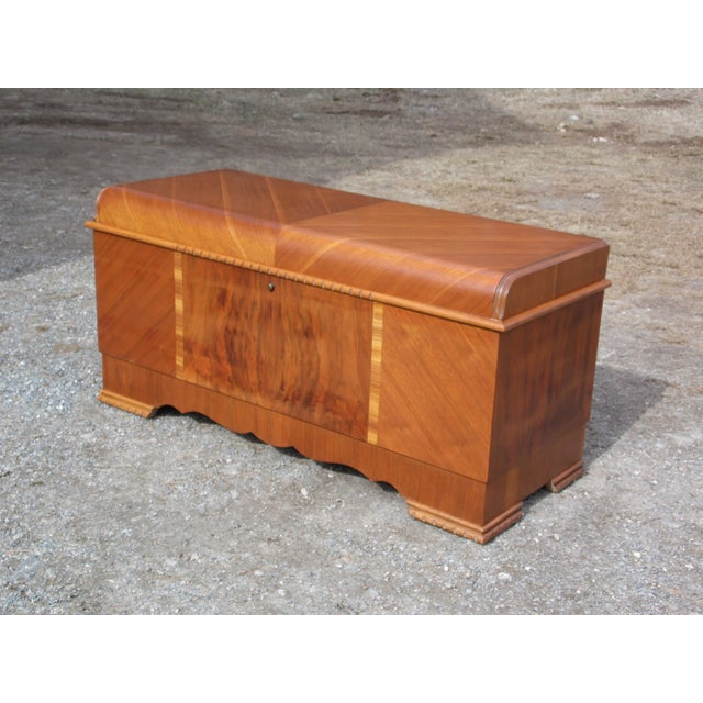 Brown Antique LANE Art Deco Waterfall Cedar Hope Chest Storage Trunk For Sale - Image 8 of 13