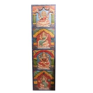Vintage Wood Lakshmi Wall Panel Hindu Gods Carved Door Panels/Wall Relief For Sale