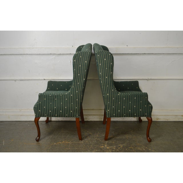 Thomasville Pair of Cherry Queen Anne Host Wing Chairs - Image 7 of 13