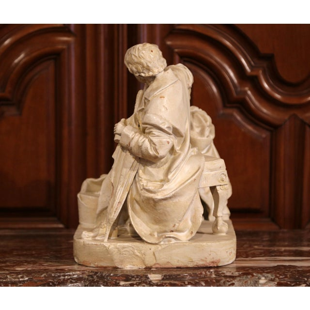 "19th Century American Cast Plaster Sculpture ""Playing Doctor"" Signed John Rogers For Sale - Image 10 of 13"