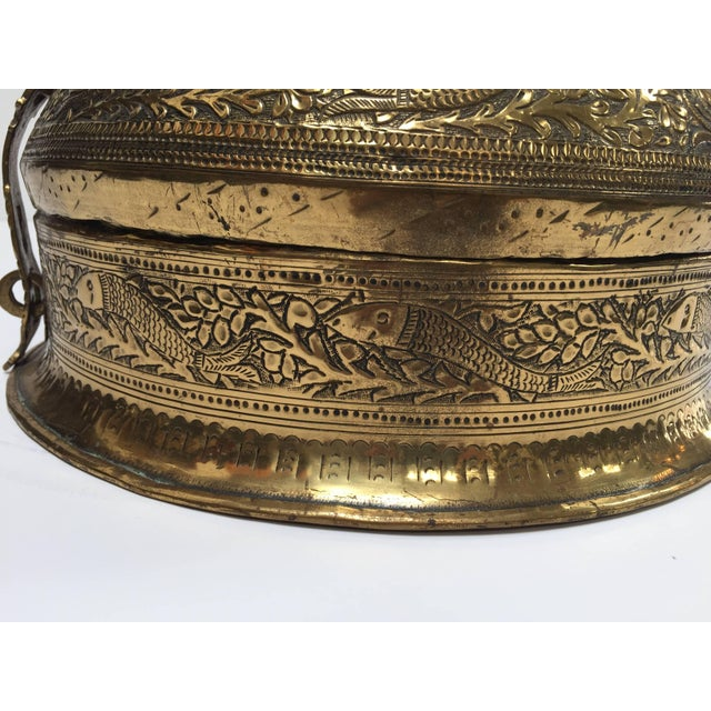 Gold Decorative Large Round Anglo-Indian Brass Box Tea Caddy For Sale - Image 8 of 10