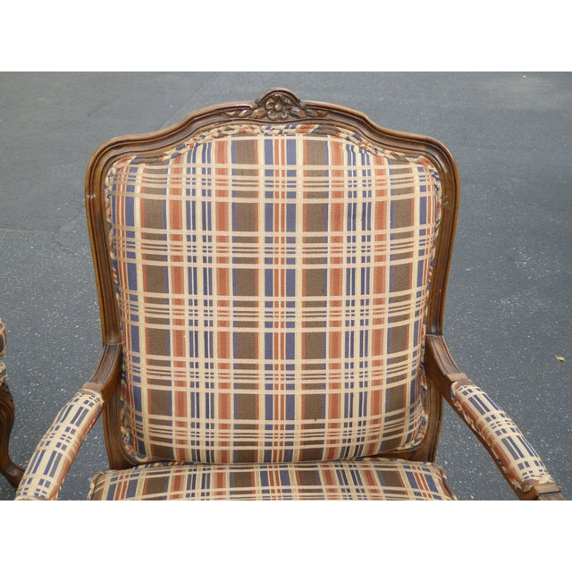 Vintage French Country Carved Wood Brown Orange Plaid Chairs - A Pair - Image 6 of 10