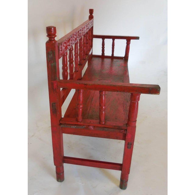 Early 20th Century Small Vintage Painted Carved Bench For Sale - Image 5 of 8