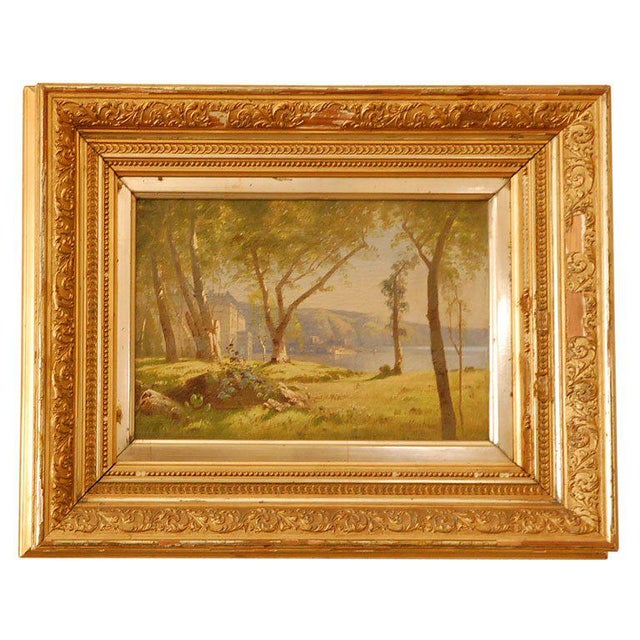 19th century oil painting of a house on lake. Signed but can't make out signature. Color of photos are not accurate. Color...