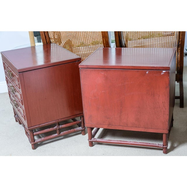 Vintage Ficks Reed Faux Bamboo Chinese Red Nightstands-A Pair For Sale - Image 11 of 12