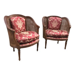 Antique French Napoleon III Caned Wood Bergere Chairs - a Pair For Sale