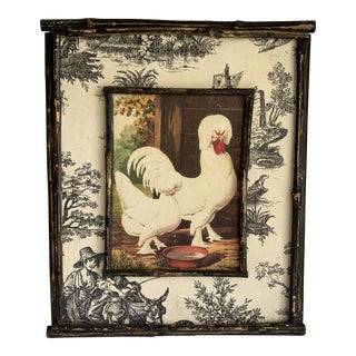 Vintage Cottage Style Wood Rooster Wall Accent For Sale