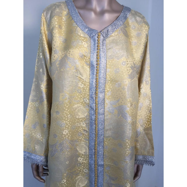 Evening or interior metallic gold brocade dress kaftan with silver and gold trim. Hand-made ceremonial caftan from North...