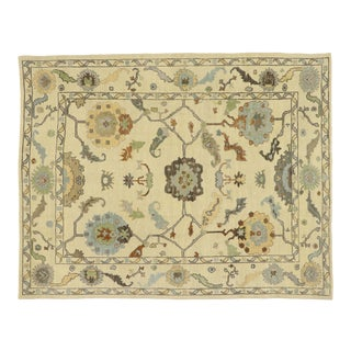 Contemporary Turkish Oushak Rug With Modern Coastal Style - 08'10 X 11'02 For Sale