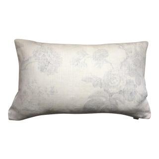 "Brunschwig Et Fils Pale Grey & Ivory Pillow Cover - 14"" X 24"" For Sale"