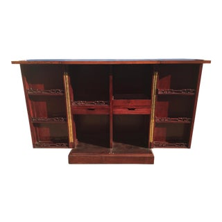 Asian Fold Out Bar Carved Rosewood For Sale
