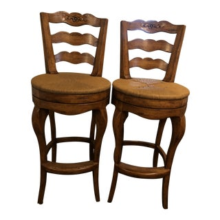 Ladderback Swivel Barstools- A Pair For Sale
