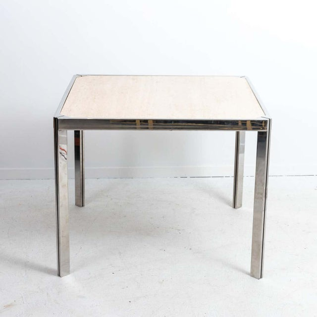 20th Century Travertine and Nickel Dining/Games Table For Sale - Image 4 of 10