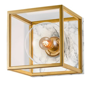 Polished Brass Wall Light With Mouth Blown Glass and Faux Marble Backplate For Sale