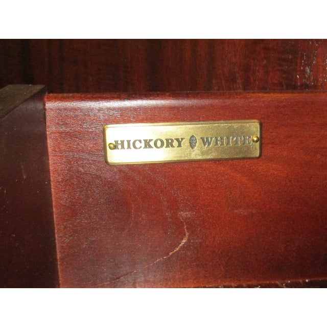 1990s Hickory White Breakfront Four-Door Inlaid Mahogany China Cabinet For Sale - Image 10 of 11
