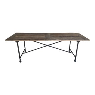 "Restoration Hardware Flatiron Rectangular Elm Wood 92"" Dining Table For Sale"