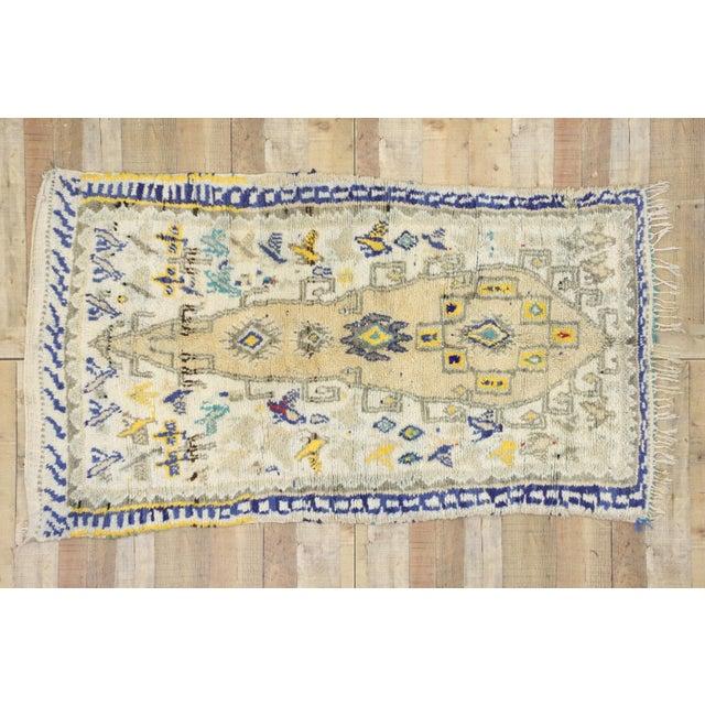 Beige Vintage Berber Moroccan Azilal Rug- 3′6″ × 6′2″ For Sale - Image 8 of 10