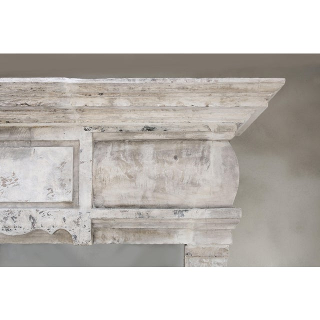 Tan Antique Castle Fireplace of French Limestone, 18th Century, Louis XIII For Sale - Image 8 of 9