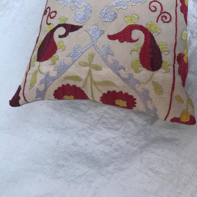 Antique Embroidered Suzani Pillow For Sale - Image 9 of 11