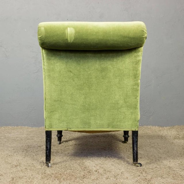 Napoleon III Slipper Chair in Green Velvet For Sale - Image 9 of 10