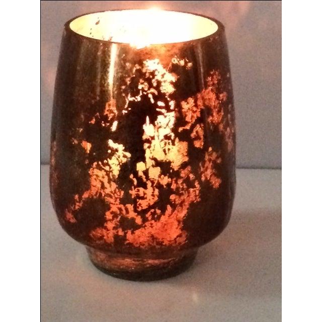 Modern Mercury Gold Glass Hurricane Candle Holder - Image 6 of 6