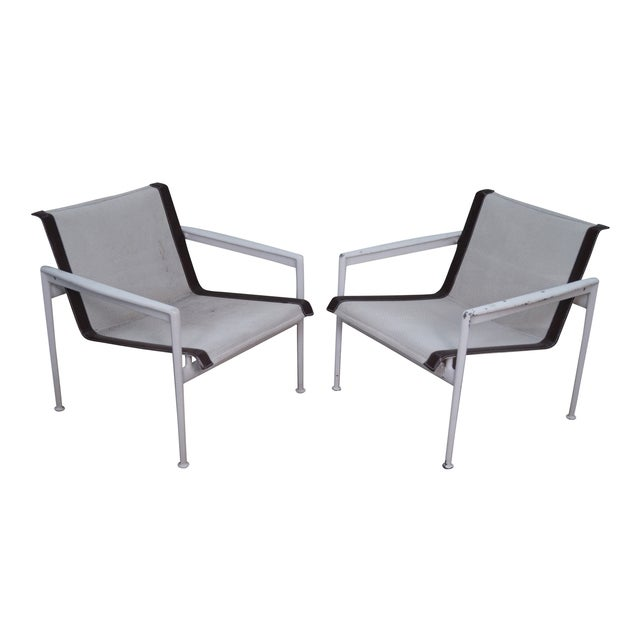 Schultz Knoll Aluminum Mesh Lounge Chairs - Pair For Sale