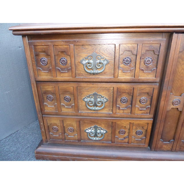 Vintage 1968 Spanish Style Ornate Triple Dresser With Interchangeable Velvet Panels For Sale In Los Angeles - Image 6 of 12