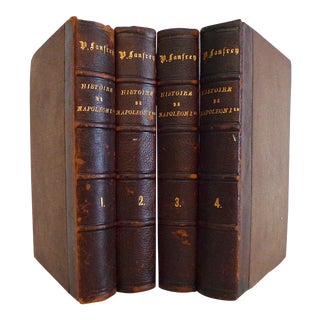 1860s Decorative Leather Books, Histoire De Napoleon Ier by Pierre Lanfrey - 4 Books For Sale