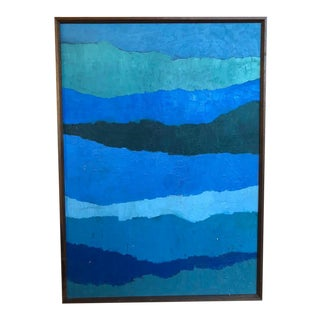 "Abstract ""Shades of Blue"" Oil Painting on Canvas For Sale"