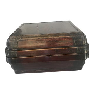 18th Century Black Lacquer Chinese Wood Cake Box With Calligraphy For Sale