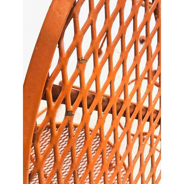 "Set of Three Mid-Century Salterini ""Orange Slice"" Chairs & Table Orange Metal Patio Set For Sale In Dallas - Image 6 of 9"