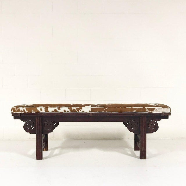 Asian Forsyth One of a Kind Vintage Chinese Carved Bench with Custom Cowhide Cushion For Sale - Image 3 of 10
