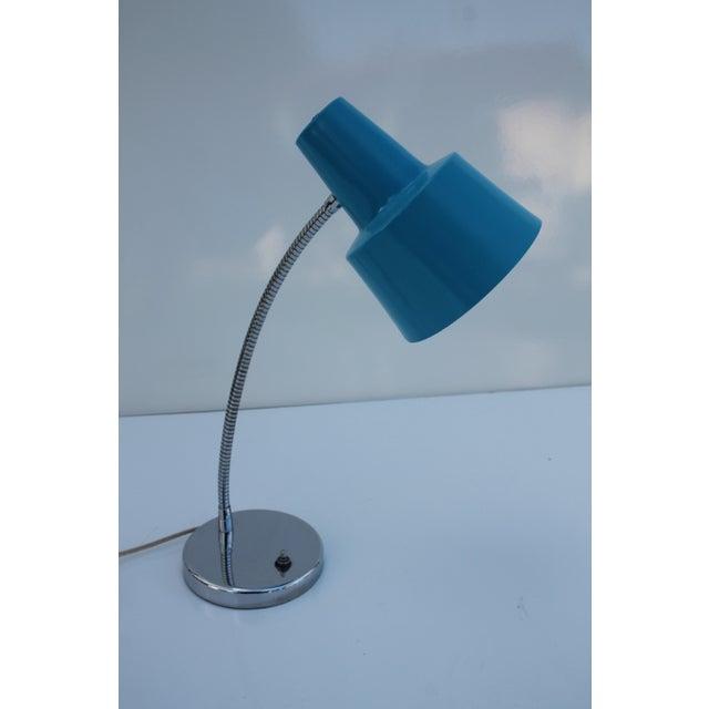 Directional Vintage Chrome & Blue Shade Desk Lamp - Image 3 of 8