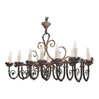 Grand Antique Iron Chandelier For Sale