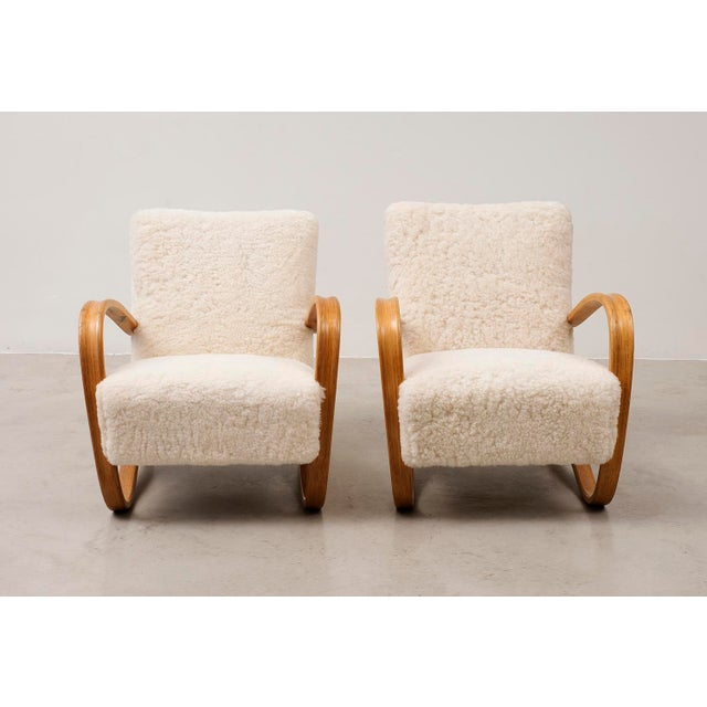 Art Deco Pair of Lounge Chairs Model H269 by Jindrich Halabala, Czechoslovakia, 1930s For Sale - Image 3 of 11