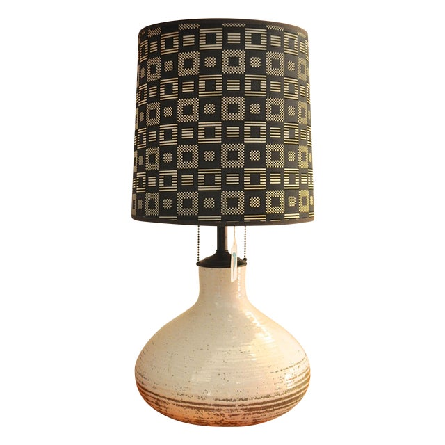 Vintage Stoneware Table Lamp with Shade - Image 1 of 2