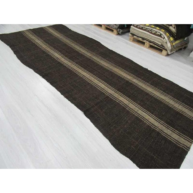 Vintage Striped Grey Turkish Kilim Rug - 5′11″ × 14′3″ For Sale - Image 5 of 6