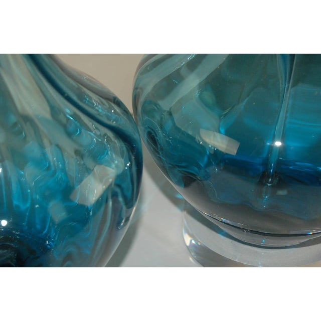 Vintage Italian Glass Petticoat Table Lamps Teal Blue For Sale In Little Rock - Image 6 of 10